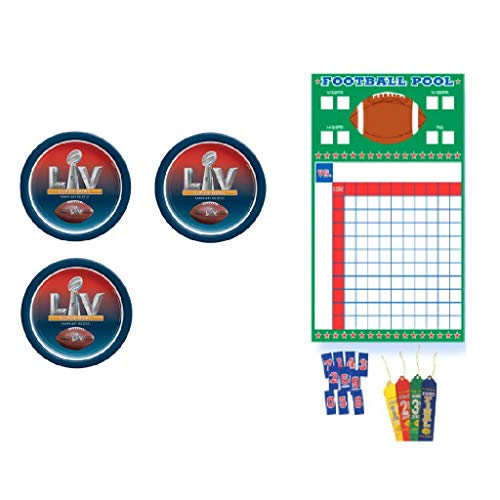 NFL Super Bowl 55 LV Football Party Supplies Dinner Plate Multi-Pack and A Football Squares Betting Pool Game with Award Ribbons (2021)
