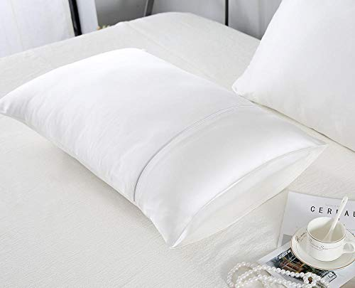 Pillowcase 19 Mumi Solid Color Double-Sided 100% Mulberry Silk Pillowcase Sleep Skin Care Silk Pillowcase Side Opening Pillowcase Inserts-Original White_50*75*1