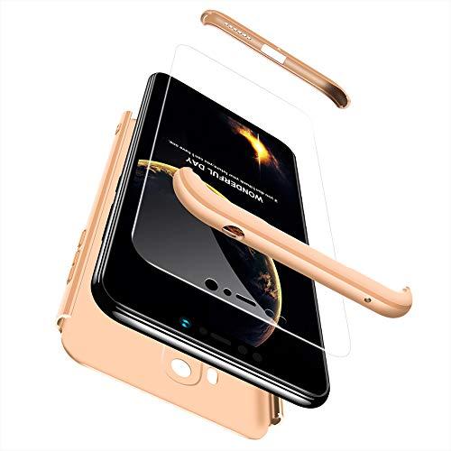 Ququcheng Xiaomi Pocophone F1 Hülle,Xiaomi Pocophone F1 Schutzhülle[Mit Bildschirmschutz] 3 in 1 Ultra dünn Hard Shell Hülle 360 Grad Schutz Tasche Etui Handyhülle Cover für Xiaomi Pocophone F1-Gold