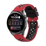 BoLuo 22mm Correa para Huawei Watch3 /Huawei Watch 3 Pro,Bandas Correa Repuesto,Silicona Reloj Recambio Brazalete Correa Repuesto para Huawei Watch GT2 Pro/watch GT 42mm/46mm/GT2 46MM (negro rojo)