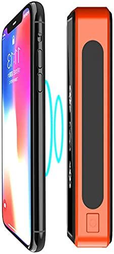 Batterie Externe 50000Mah 4 Ports USB Power Bank Puissant USB C PD18W Chargeur Solaire Sans Fil 10W Étanche Portable Avec Lampe Poche LED Universel, Pour Iphone, Ipad, Samsung Smartphones,Orange