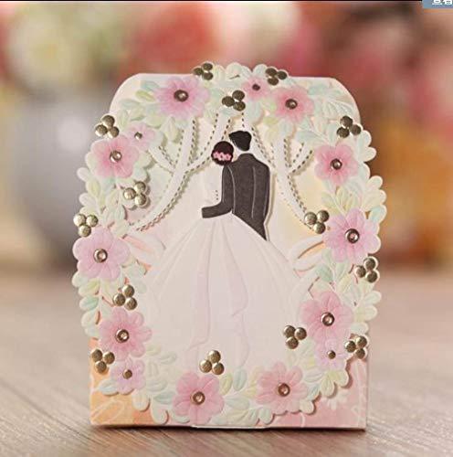 MNHJG Süßigkeitensack Süßigkeit-Blumen-Blumenmariage-Elegante romantische Dekoration Laser geschnittene süße Papiergeschenk-Bevorzugungs-Kasten der Partei-50pcs