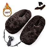 Healifty Fußwärmer Hausschuhe Winterschuhe USB Plüsch Schuhe (Kaffee) - 4