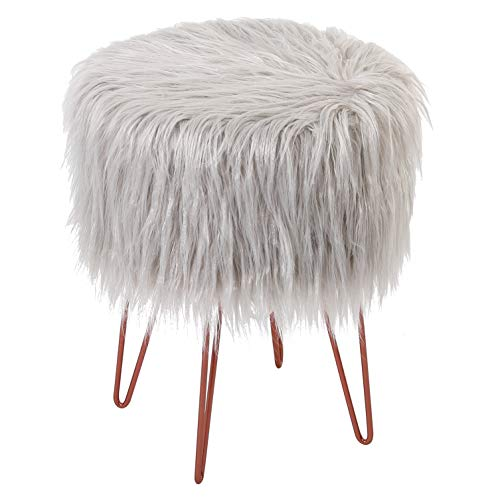 BirdRock Home Silver Faux Fur Vanity Stool Chair – Soft Furry Compact Padded Seat - Vanity, Living Room, Bedroom and Kids Room Chairs – Hair Pin Metal Legs Upholstered Decorative Furniture Foot Rest