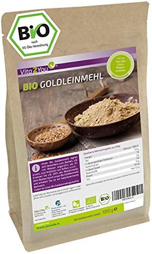 Goldleinmehl Bio 1000g - Glutenfrei - Mehlersatz - wenig Kohlenhydrate - hoher Proteingehalt - im Zippbeutel - Premium Qualität