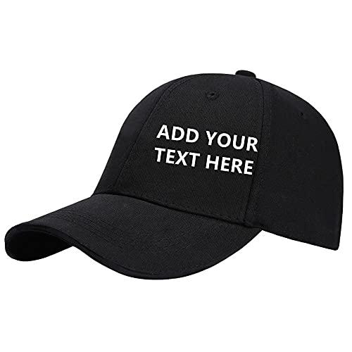Sombrero Personalizado, Gorra de BéIsbol Personalizada con Foto Texto, Sombrero de Sol Informal Ajustable Personalizado, para CumpleañOs Regalo Navidad, Negro, Modelos Adultos
