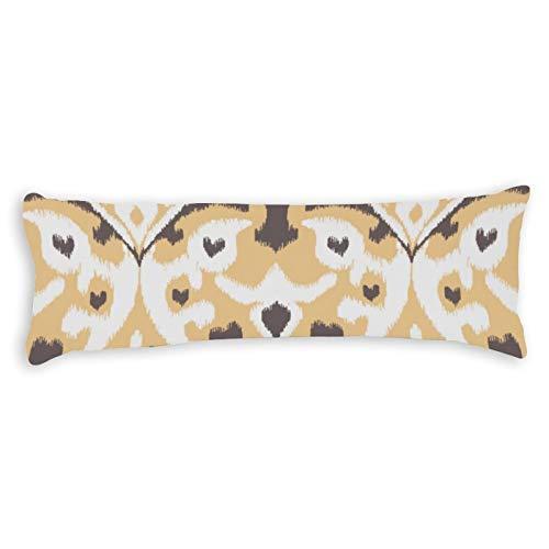 Modern Buff Beige Brown Ikat Tribal Pattern Ultra Soft Microfiber Long Body Pillow Cover Pillowcases with Hidden Zipper Closure for Kids Adults Pregnant Women, 20' x 54'