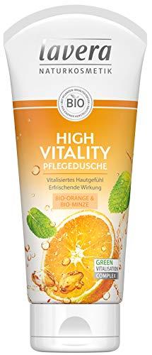 lavera High Vitality Pflegedusche Bio Orange & Bio Minze ∙ Vitalisiertes Hautgefühl ∙ Vegan Bio Pflanzenwirkstoffe Naturkosmetik Natural & innovative Duschgel (200 ml)