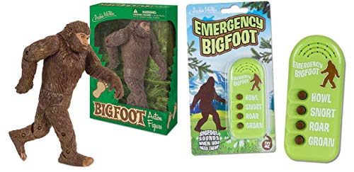 Bigfoot Gag Gift Duo - Bigfoot Action Figure and Emergency Bigfoot Electronic Noisemaker - Perfect for The Bigfoot Lover in Your Life!