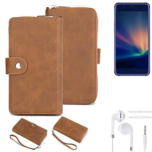 K-S-Trade® Handy-Schutz-Hülle Für -Hisense A2 Pro- + Kopfhörer Portemonnee Tasche Wallet-Case Bookstyle-Etui Braun (1x)