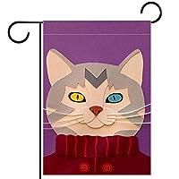 ウェルカムフラワーリースガーデンフラッグヤード両面セーター猫 パティオ芝生の家の屋外の装飾の春のための庭の花の旗