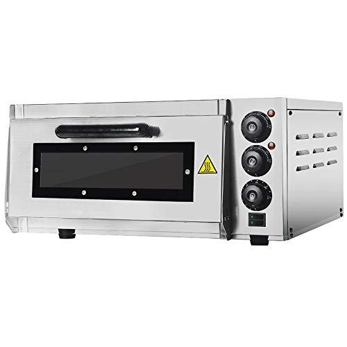 GZZT Horno para pizza eléctrico hornos 400 x 400 mm profesional 2000 W, 350 °C Horno eléctrico de acero inoxidable con piedra refractaria Back Surface, Gastro piedra horno