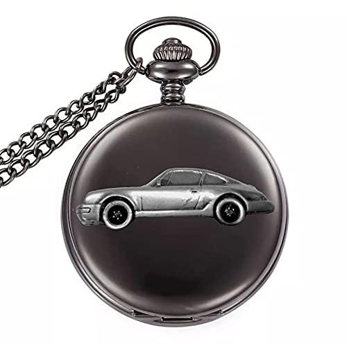 Clásico alemán coche deportivo 911 Carrera ref193 diseño de efecto peltre en una caja de color negro pulido reloj de bolsillo de cuarzo para hombre