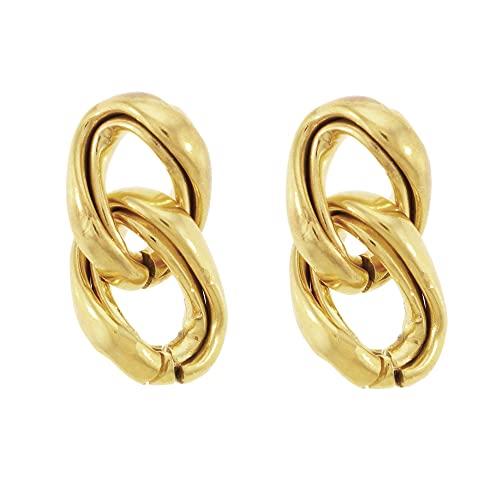 Córdoba Jewels   Pendientes en Plata de Ley 925 bañada en oro con diseño Cadena Gold