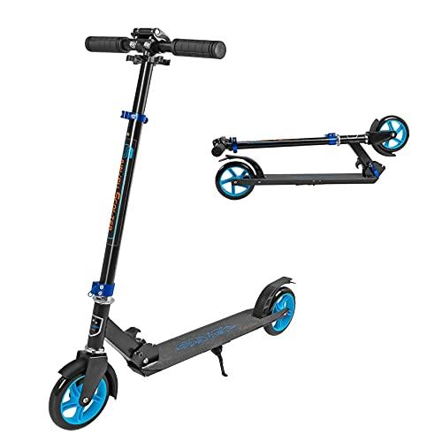 Patinete infantil con 2 ruedas, patinete para adultos y 3 alturas ajustables, fácil de plegar, deslizamiento liso y estable (azul)