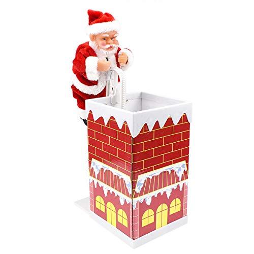 Greatangle-UK Neuheit Spaß Spielzeug Weihnachtsmann Klettern Spielzeug Schornstein Weihnachtspuppe mit Musik Elektro Spielzeug rot