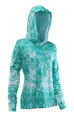 KOOFIN GEAR Performance Fishing Hoodie Women's Long Sleeve Hooded Sunshirt UPF50, Green, Medium