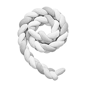 Wonder Space Soft Knot Plush Pillow – Braided Baby Crib Bumper, Fashion Nursery Cradle Decor for Baby Toddler and Childern (Grey/White, 118IN / 3M)