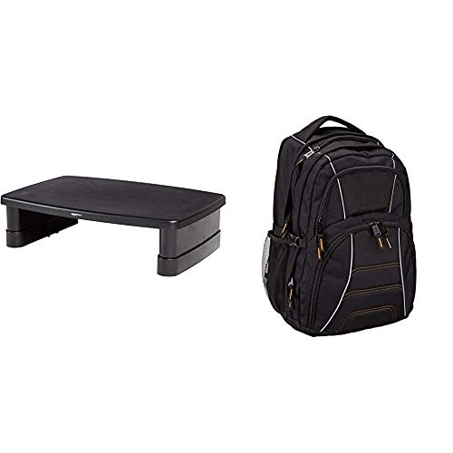 AmazonBasics Adjustable Monitor Stand & Laptop Computer Backpack - Fits most 17 Inch/43 cm Laptops - Black