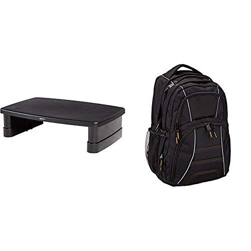 Amazon Basics Bildschirmständer, höhenverstellbar & Laptoprucksack, geeignet für die meisten 17-Zoll-Laptops (43cm), Schwarz