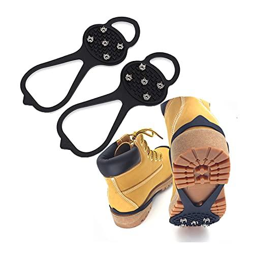 1 Par Crampones Antideslizantes Tacos TraccióN Caminar EmpuñAduras Hielo Invierno con 10 Dientes de Acero Colocados EstratéGicamente Que Mejoran El Agarre para Zapatos Y Botas Caminan Sobre Nieve