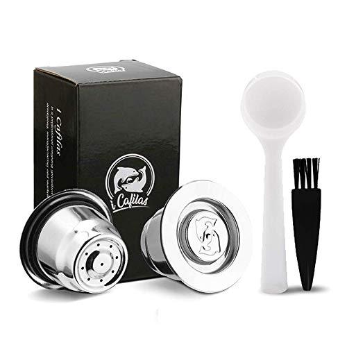 i Cafilas Stainless Steel Coffee Capsule Pod Filter Espresso for Nespresso Coffee Makers Crema 2pcs