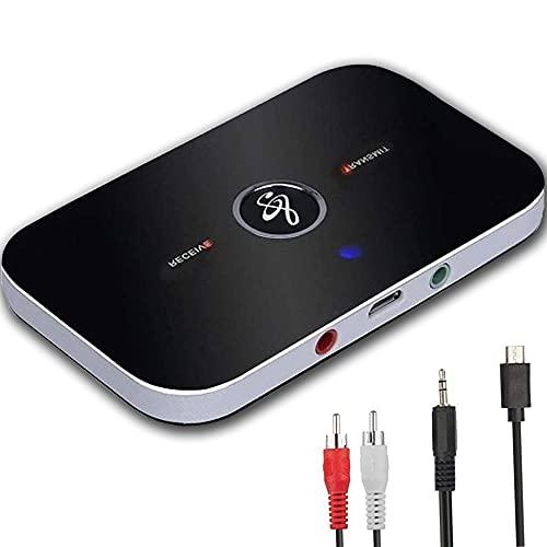 YiYunTE Bluetooth 5.0 Audio Transmitter Empfänger 2 in 1 Bluetooth Audio Adapter RCA AUX Wireless Audio HiFi Receiver Low Latency Mini Audio Sender für PC TV Auto Stereoanlage Kopfhörer Lautsprecher