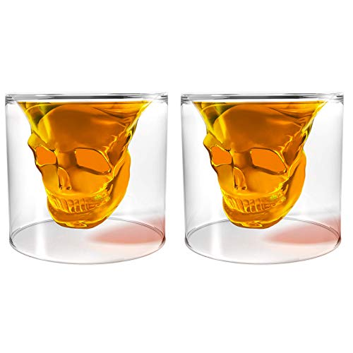 Unique Transparent Skull Shot Glass for Whiskey, Vodka, Cocktail Double Layer Halloween Party Design (2pcs)