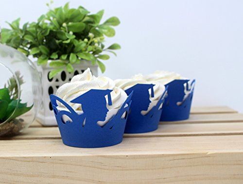 All About Details Female Graduate Cupcake Wrappers,12pcs (Blue), 3' top diameter, 2' bottom diameter and up to 2' tall
