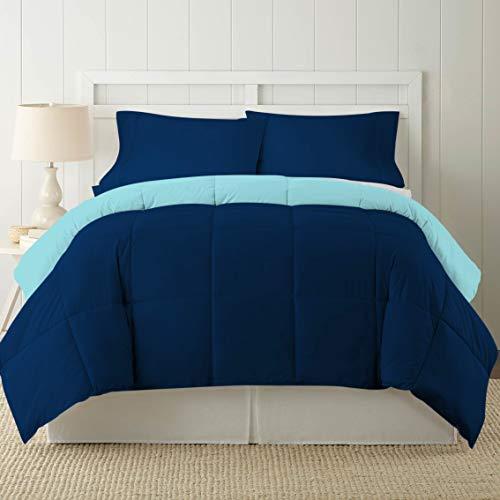 CASA COUTURE Juego de edredón reversible para cama individual/TwinXL, funda de algodón orgánico de 800 hilos, relleno de microfibra de calidad premium de 300 g/m², 3 piezas