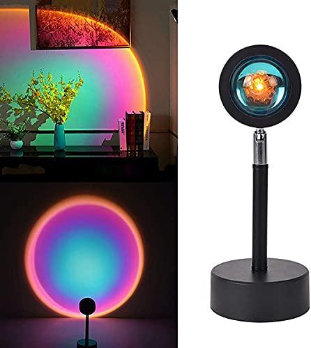 JYDNBGLS Lámpara de proyección de puesta de sol, carga USB, proyector de luz nocturna de 180 grados, luz romántica de arco iris visual para dormitorio, hogar, fiesta, mejora del hogar