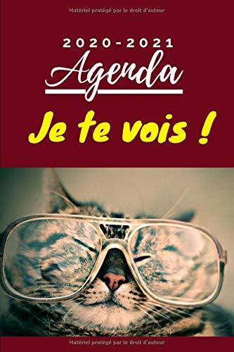 """Agenda Scolaire 2020-2021 - """"Je te vois"""": agenda journalier - 1 sept 2020 au 31 août 2021 – 345 pages – Format 15,2 x 22,8 cm - Humoristique / Chat à lunettes"""