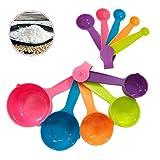 Ledeak 10 Piezas Set Cucharas Medidoras, Juego de Tazas Medidoras de Multicolor, Herramientas de Medición de Plástico Duraderos para Cocina Cocinar Pasteles para Hornear