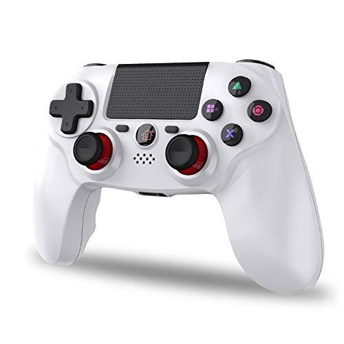 PS4 コントローラー 無線 Bluetooth5.0 振動機能 重力感応 高耐久ボタン ゲームパット イヤホンジャック ジャイロセンサー PS4対応 充電ケーブル付き 最新バージョン対応(ホワイト)