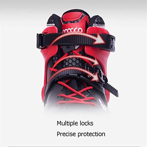 mfw@wewe Inline Skates, Adult Professional Single Row Skating Shoes Fancy Inline Skates, Beginner Roller Skates (Color : RED-B, Size : EU 36/US 4.5/UK 3.5/JP 23CM)