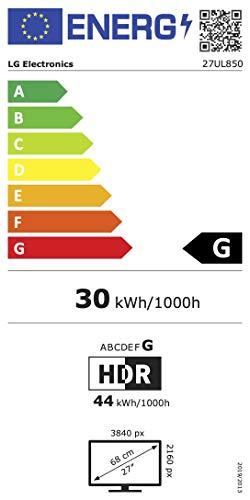 LG 27UL850-W 68, 58 cm (27 Zoll) UHD 4K IPS Monitor (HDR10, USB Type-C, 99% sRGB, AMD Radeon FreeSync), schwarz weiß - 16