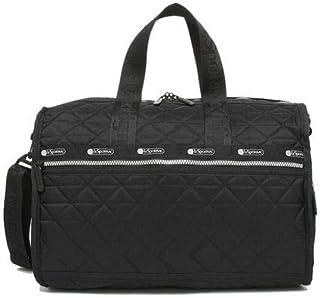 LeSportsac Black Geo Debossed Medium Weekender Crossbody Bag + Cosmetic Bag, Style 7184/Color F456, Unique Geometric Debos...