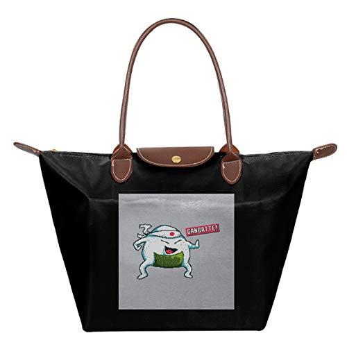 Ganbatte Do Your Best Japanese Cartoon Character Pixel Art Waterproof Leather Folded Messenger Nylon Bag Travel Tote Hopping Folding School Handbags