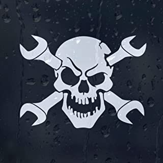 Skull Cross Wrench Car Decal (External Fitting)