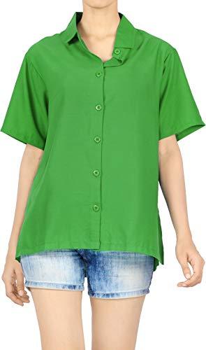 LA LEELA botón de Ajuste de Las Mujeres de Manga Corta sólida Regulares clásico Abajo Atar Camisa Casual Verano Hawaiano Verde_AA460 L