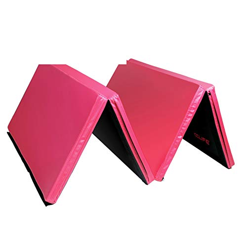 CCLIFE Turnmatte Weichbodenmatte Klappbar für zuhause Fitnessmatte Gymnastikmatte rutschfeste Sportmatte Spielmatte, Farbe:Rosa & Schwarz