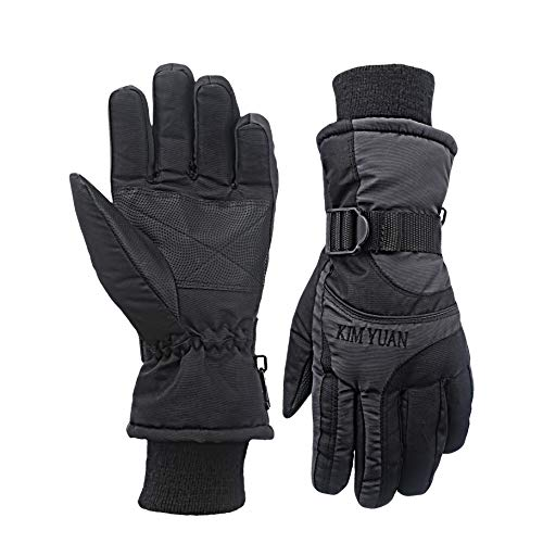 KIM YUAN Winter Ski Handschuhe - Kalt-Proof, 3M Thinsulate, Hirschleder Wildleder, Kalt Wetter warme Handschuhe für Männer und Frauen