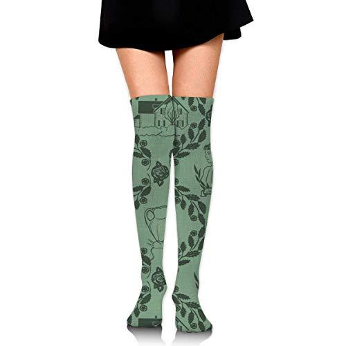 WH-CLA Calcetines De Compresión Anne Of Green Gables Vestido De Novedad Estampado Cosplay Al Aire Libre Calentadores De Pierna Por Encima De La Rodilla Calcetines De Compresión Casuales