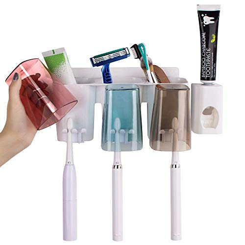 KSang Toothbrush Holder Multifunctional Wall-Mounted Space-Saving Toothbrush and Toothpaste Squeezer Kit with Large Capacity Easy Install Durable for Family Washroom Bathroom (3Cups)