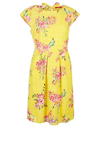 s.Oliver Damen Kleid mit Blumenmuster light yellow AOP 38