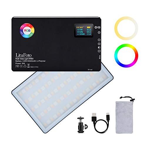 Lámpara de vídeo LED RGB CRI 96 + 360 °, 12 efectos de luz 3200 – 7500 K, ajustable 1 – 100 % regulable para fotografía de cámara YouTube Studio Vlog