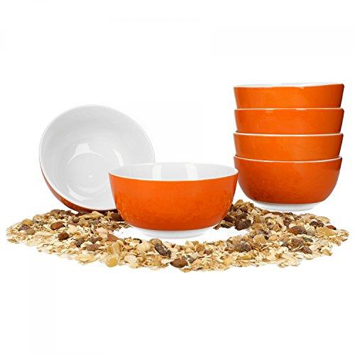 Van Well 6er Set Müsli- Salatschale Serie Vario Porzellan - Farbe wählbar, Farbe:orange