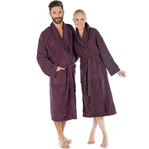 CelinaTex Accappatoio con collo sciallato o cappuccio XL prugna in cotone per sauna da donna uomo e donna