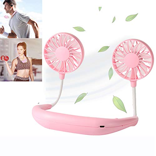 Hand Free Personal Fan, Portable Mini Fan USB Rechargeable with Dual Wind Head With aromatherapy Fan, 360 Degree Free Rotation Perfect for camping,Sports, Traveling, Outdoor (Pink)
