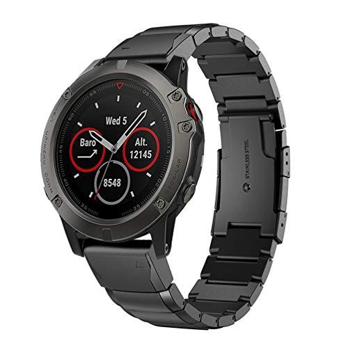 HappyTop, Cinturino per Orologio da Uomo Compatibile con smartwatch Garmin Fenix 5X, Cinturino da Polso a sgancio rapido, Regolabile in Acciaio Inox, Unisex - Adulto, Nero